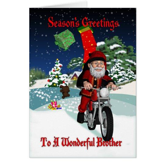 Motocicleta Santa de Brother con los regalos del Tarjeta De Felicitación
