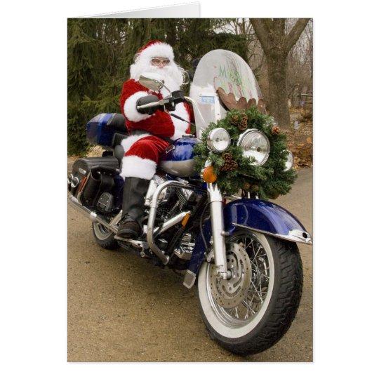 Motocicleta Santa Tarjeta De Felicitación