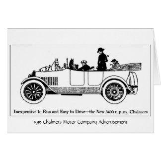 Motor 1916 de Chalmers Co., tarjeta de
