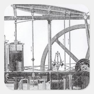 Motor de vapor pegatina cuadrada