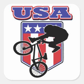 Motorista de los E.E.U.U. BMX Pegatinas Cuadradas