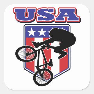 Motorista de USA-BMX Pegatina Cuadrada