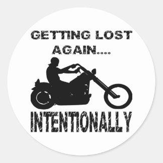 Motorista que se pierde otra vez intencionalmente etiqueta redonda