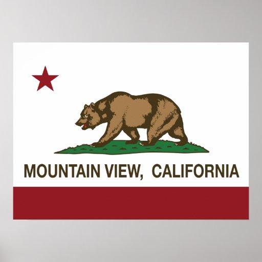 Mountain View de la bandera del estado de Californ Posters