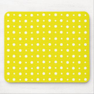 Mousepad amarillo limón, lunares blancos alfombrilla de raton