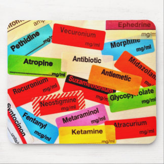 Mousepad colorido de la etiqueta de la droga alfombrilla de ratón