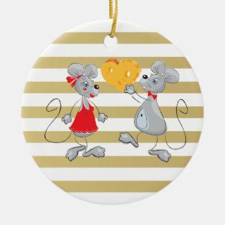 Mouses-Rayas caprichosas peculiares lindas Adorno De Cerámica
