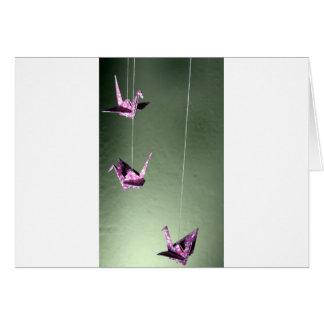Móvil espiral de Origami del damasco rosado Tarjetón