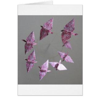 Móvil espiral de Origami del damasco rosado Felicitación