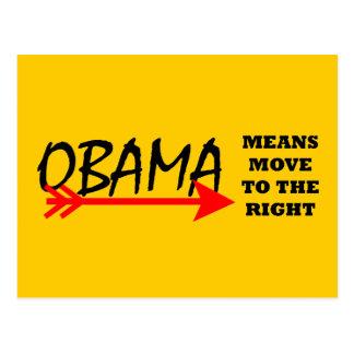 Movimiento de los medios de OBAMA a la derecha el Tarjetas Postales