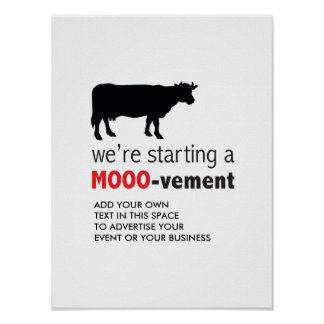 Movimiento libre del amante de la vaca de la póster
