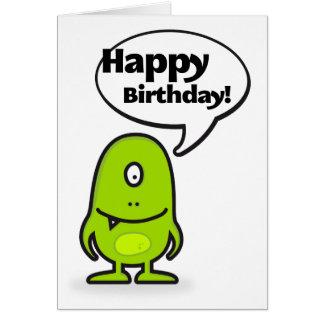 Mr Funny Monster Happy Birthday Tarjeta De Felicitación