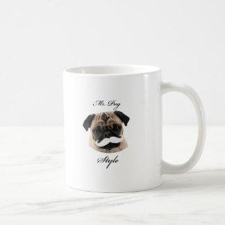 Mr. Pug Collection Taza Básica Blanca