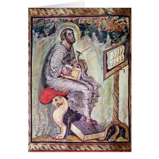 Ms 1 fol.90v St Luke, de los evangelios de Ebbo Felicitación