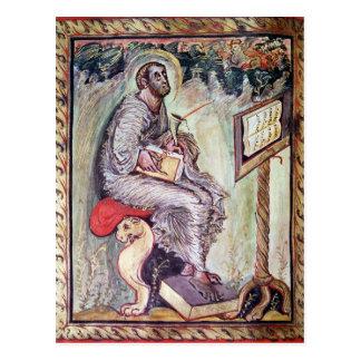 Ms 1 fol.90v St Luke, de los evangelios de Ebbo Postal