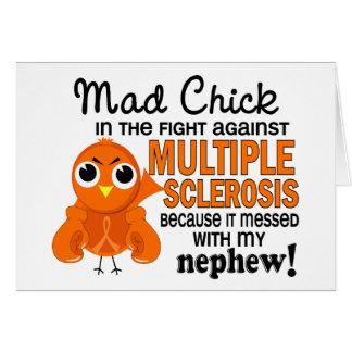 Ms enojado de la esclerosis múltiple del sobrino d tarjeta de felicitación