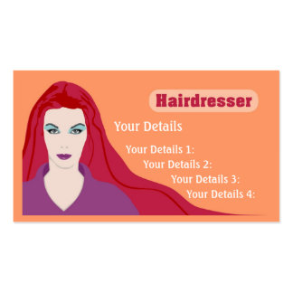 Muchacha de pelo largo de la tarjeta del peluquero tarjeta personal