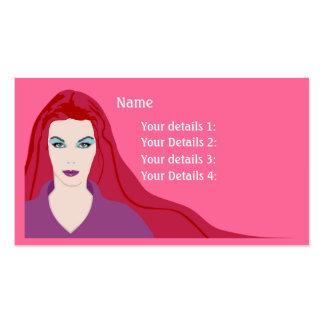 Muchacha de pelo largo de la tarjeta del peluquero plantilla de tarjeta de visita