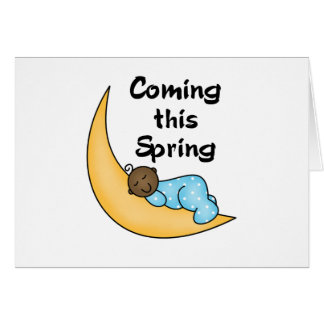 Muchacho afroamericano el la primavera de la luna tarjeta de felicitación