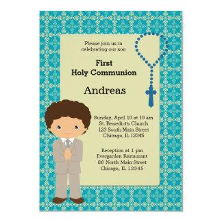 Muchacho de la comunión santa invitación 12,7 x 17,8 cm