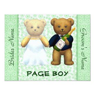 Muchacho de la página - el boda verde de los osos invitación 10,8 x 13,9 cm