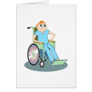 Muchacho de la silla de ruedas tarjeta de felicitación