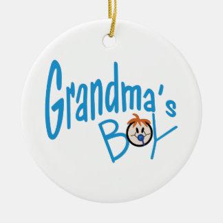 Muchacho de las abuelas adorno navideño redondo de cerámica