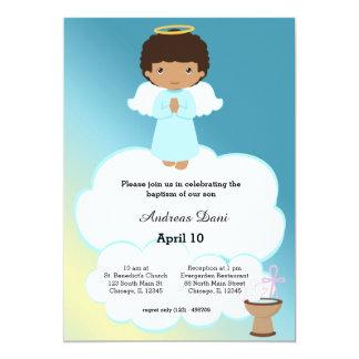 Muchacho del ángel del bautismo invitación 12,7 x 17,8 cm