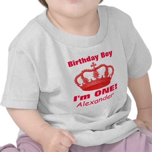 ¡Muchacho del cumpleaños con la corona soy UNA! No Camiseta