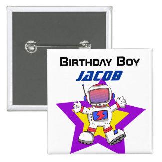Muchacho del cumpleaños del astronauta pin