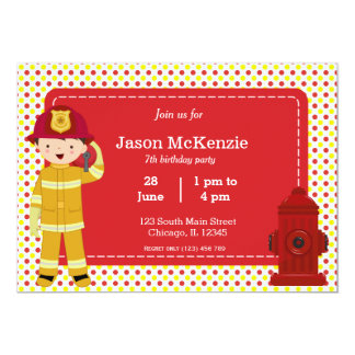Muchacho del cumpleaños del bombero invitación personalizada