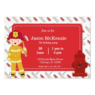 Muchacho del cumpleaños del bombero invitación
