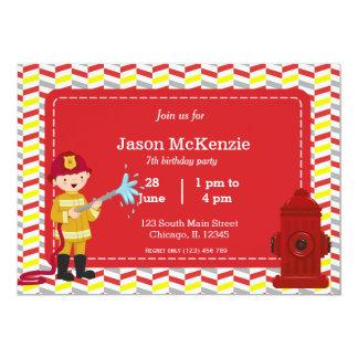 Muchacho del cumpleaños del bombero invitación 12,7 x 17,8 cm