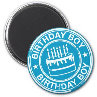 Muchacho del cumpleaños - efecto blanco del sello imán de frigorífico