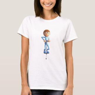 Muchacho del dibujo animado en un palillo de Pogo Camiseta