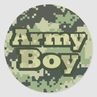 Muchacho del ejército pegatina redonda