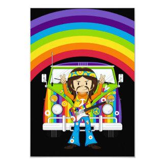 Muchacho del Hippie con la guitarra y la Invitación 8,9 X 12,7 Cm