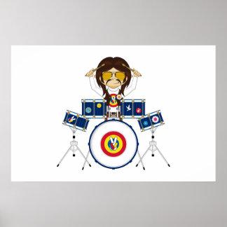 Muchacho del Hippie con los tambores Póster