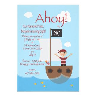 Muchacho del pirata invitación personalizada
