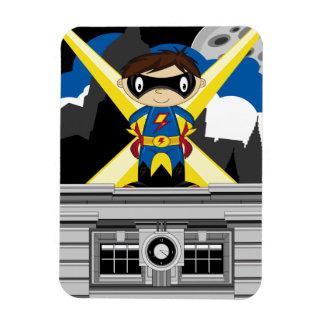 Muchacho del super héroe en tejado iman flexible