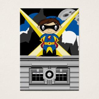 Muchacho del super héroe en tejado tarjeta de negocios