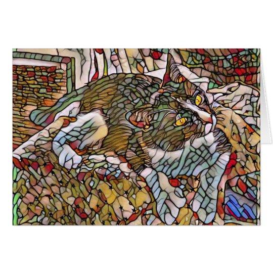 Muchacho del vidrio de la mancha tarjeta de felicitación