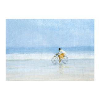 Muchacho en la bicicleta 2 impresión en lienzo estirada