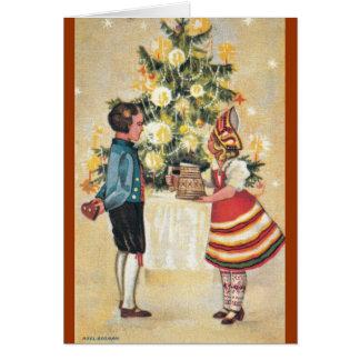 Muchacho estonio + Tarjeta de Navidad del chica