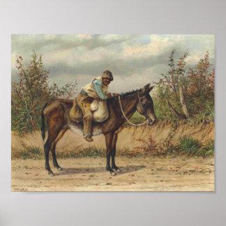 Muchacho joven en una mula, caminante de Guillermo Póster