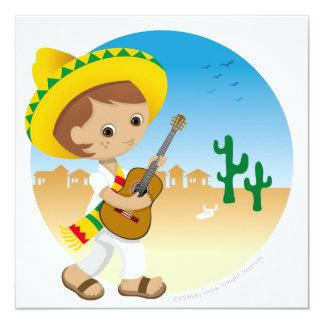 Muchacho mexicano invitación 13,3 cm x 13,3cm