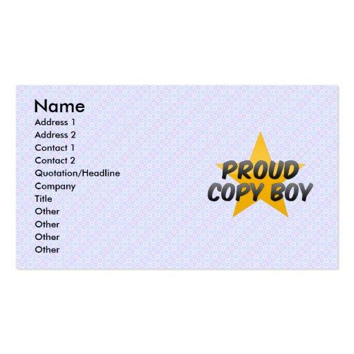 Muchacho orgulloso de la copia plantillas de tarjeta de negocio