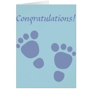 Muchacho recién nacido de la enhorabuena de las tarjeta de felicitación