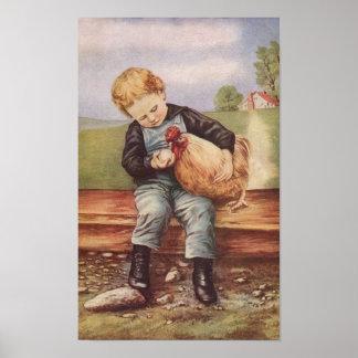 Muchacho y el suyo del vintage pollo del mascota póster
