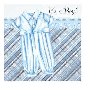 Muchachos azules y fiesta de bienvenida al bebé invitación 13,3 cm x 13,3cm